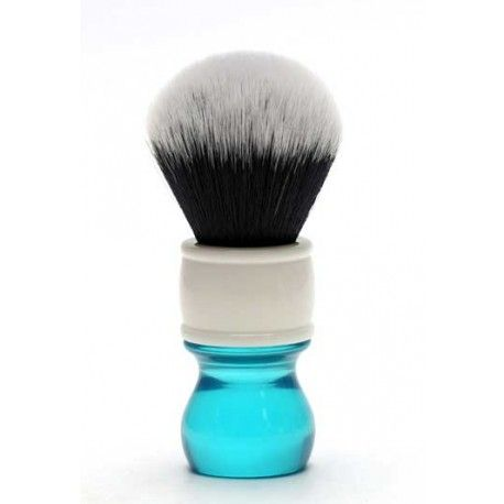 Yaqi Tuxedo Synthetic Shaving Brush, Aqua Handle