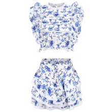 Load image into Gallery viewer, Blue and white two piece with ruffle shoulder - The Bikini Studio