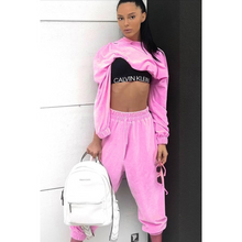 Load image into Gallery viewer, Pink crop tracksuit with hood