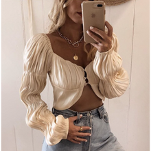 Load image into Gallery viewer, Silk Long sleeve ruffled crop top