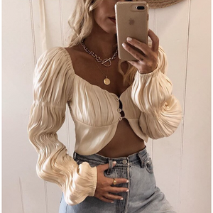 Silk Long sleeve ruffled crop top