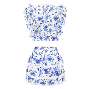 Blue and white two piece with ruffle shoulder - The Bikini Studio