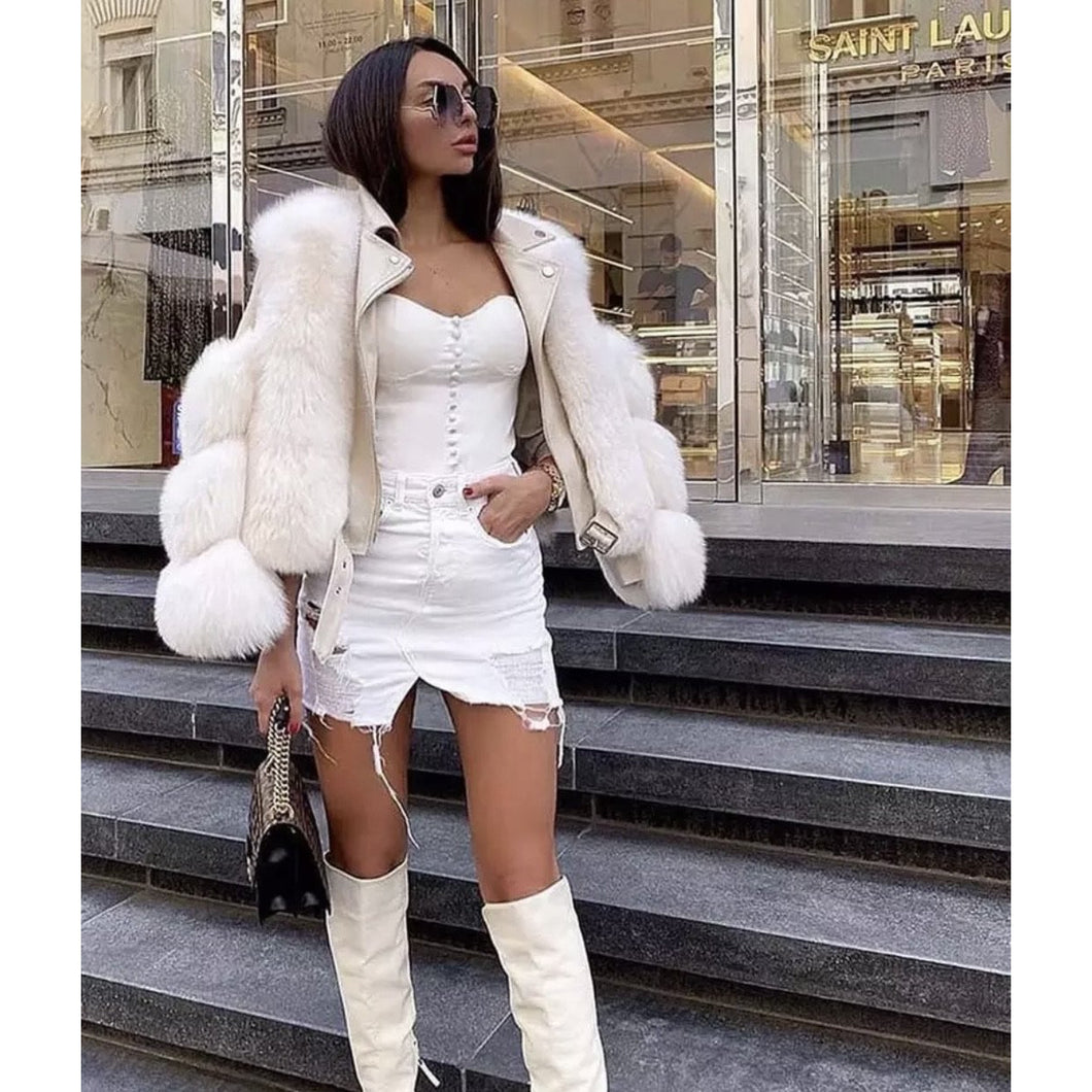 Cream faux leather with faux fur