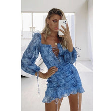 Load image into Gallery viewer, Blue off the shoulder dress - The Bikini Studio