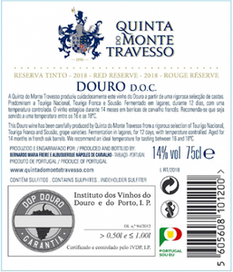 Quinta do Monte Travesso Reserva Tinto 2018