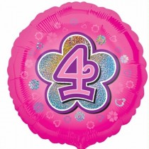 18IN 4TH BIRTHDAY PINK FLOWERS FOIL