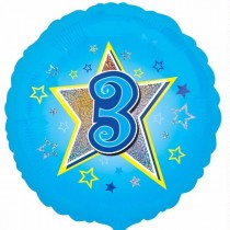 18IN 3RD BIRTHDAY BLUE STARS FOIL