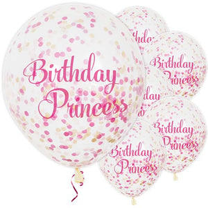 "12"" CLEAR PRINCESS BIRTHDAY LATEX BALLOON WITH CONFETTI 6PK"