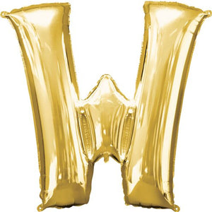 "16"" Foil Letter W - Gold Packaged Air Fill (ANAGRAM)"