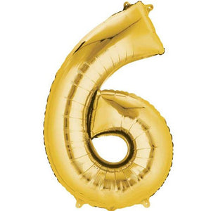 "16"" Foil Number 6 - Gold Packaged Air Fill (ANAGRAM)"