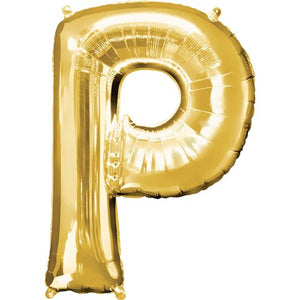 "16"" Foil Letter P - Gold Packaged Air Fill (ANAGRAM)"
