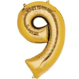 "16"" Foil Number 9 - Gold Packaged Air Fill (ANAGRAM)"
