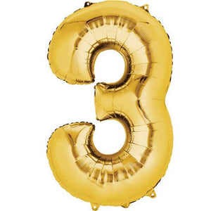 "16"" Foil Number 3 - Gold Packaged Air Fill (ANAGRAM)"