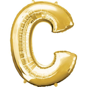 "16"" Foil Letter C - Gold Packaged Air Fill (ANAGRAM)"