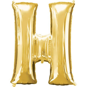 "16"" Foil Letter H - Gold Packaged Air Fill (ANAGRAM)"