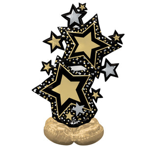59 INCH BLACK & GOLD STAR CLUSTER AIRLOONZ FOIL BALLOON