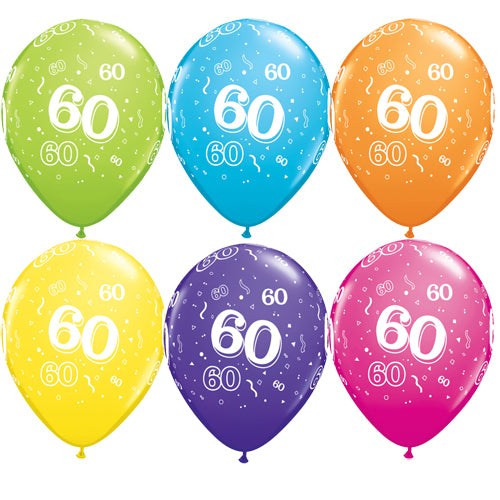 11 INCH AGE 60 ROUND TROPICAL ASSORTMENT LATEX BALLOONS (25 pack)