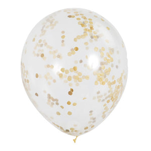 12 INCH CLEAR LATEX BALLOONS WITH GOLD CONFETTI (6 pack)