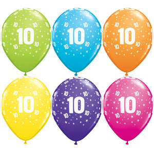 11 INCH NUMBER 10 STARS TROPICAL ASSORTMENT LATEX BALLOONS (25 pack)