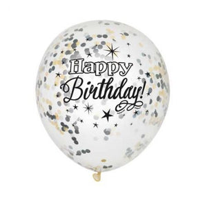 12 INCH CLEAR GLITTER HAPPY BIRTHDAY LATEX BALLOONS WITH CONFETTI
