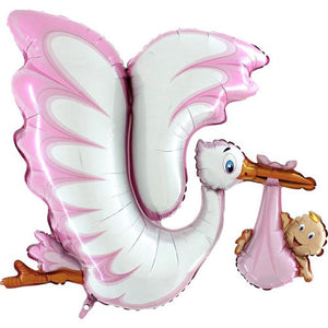53 INCH PINK STORK BABY DELIVERY FOIL BALLOON