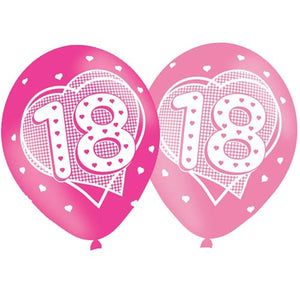 11 INCH DARK & PALE PINK AGE 18 HEARTS LATEX BALLOONS (6 pack)