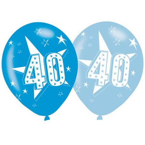 11 INCH DARK & PALE BLUE AGE 40 STARS LATEX BALLOONS (6 pack)