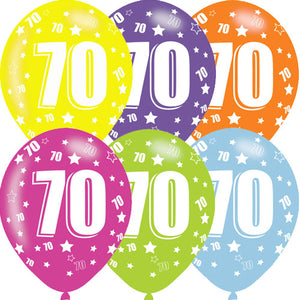 11 INCH AGE 70 STARS ASSORTMENT LATEX BALLOONS (6 pack)