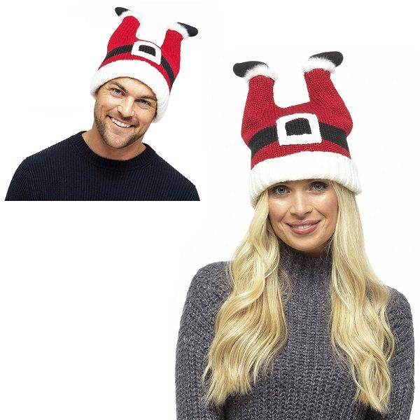 CHRISTMAS SANTA WITH LEGS NOVELTY BEANIE WOOLLY WINTER HAT