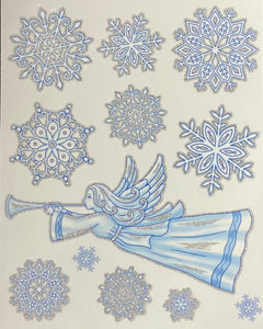 ASSORTED SNOWFLAKE AND ANGEL WINDOW STICKERS