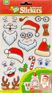 ASSORTED EMBOSSED SANTA STICKERS