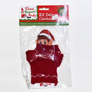 NAUGHTY ELVES FIGURE KNITTED JUMPER - RED