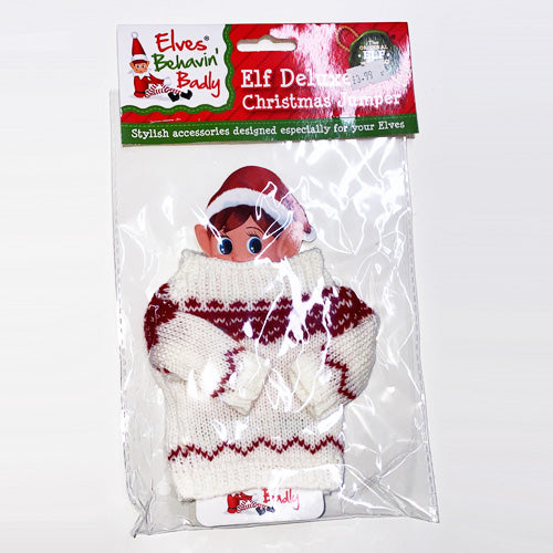 NAUGHTY ELVES FIGURE KNITTED JUMPER - WHITE & RED