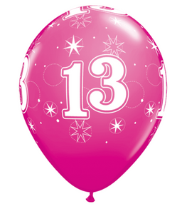 11 INCH WILD BERRY AGE 13 SPARKLE LATEX BALLOONS (25 pack)