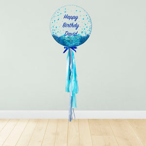 Blue Confetti Print Personalised Balloon Package