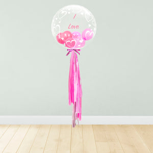 Hearts Print Personalised Balloon Package Pink