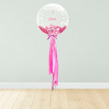 Load image into Gallery viewer, Hearts Print Personalised Balloon Package Pink