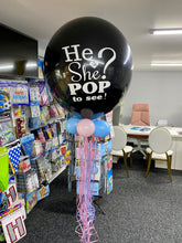 "Load image into Gallery viewer, 24"" HE OR SHE ""POP TO SEE"" GENDER REVEAL BALLOON - BOY OR GIRL?"