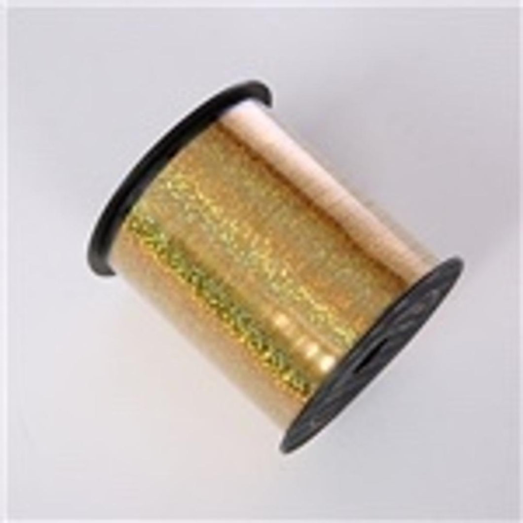 CURLING RIBBON 5mm x 1.5m HOLOGRAPHIC GOLD