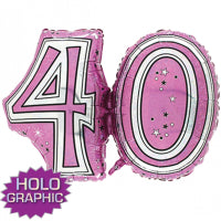 "Load image into Gallery viewer, 28"" FOIL SUPER SHAPE PINK 40TH"