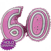 "28"" FOIL SUPER SHAPE PINK 60TH"