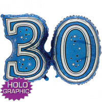 "28"" FOIL SUPER SHAPE BLUE 30TH"