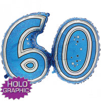 "28"" FOIL SUPER SHAPE BLUE 60TH"
