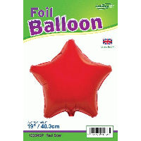 18'' PACKAGED STAR RED FOIL BALLOON