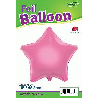 "18"" PACKAGED STAR PINK FOIL BALLOON"