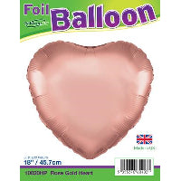 "18"" PACKAGED ROSE GOLD HEART FOIL BALLOON"