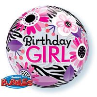 "22"" SINGLE BUBBLE BIRTHDAY GIRL FLORAL STRIPES"