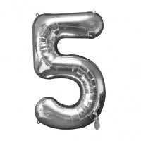 "34"" SHAPE FOIL NUMBER 5 - SILVER (ANAGRAM)"