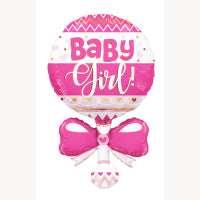 "Load image into Gallery viewer, 36"" BABY GIRL RATTLE SHAPE FOIL BALLOON"