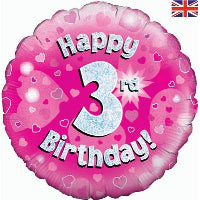 "18"" FOIL HAPPY 3rd BIRTHDAY PINK"